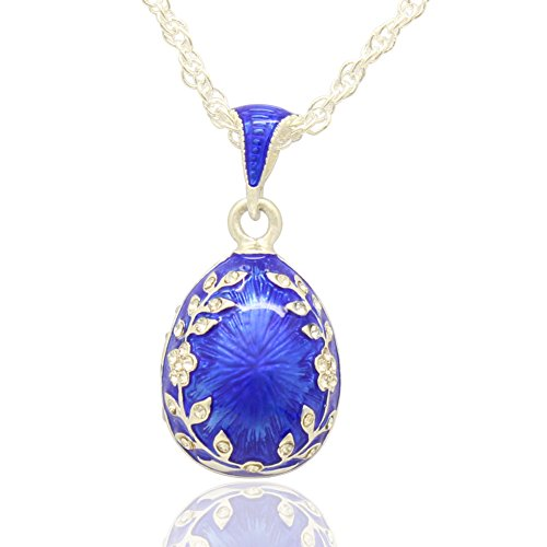 MYD Jewelry Leaf Flower Crystal Easter Egg Charm Pendant Necklace Russian Style (Sky Blue)
