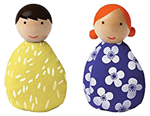 - Manhattan Toy MiO Wooden Bean Bag People Peg Doll Toys - Yellow & Blue Imaginative Play Characters