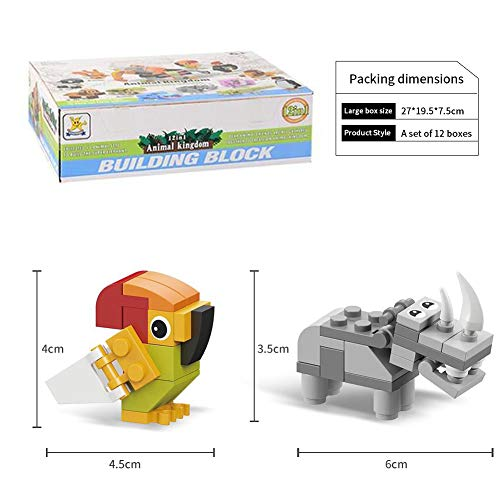 12 in 1 Mini Animals Building Blocks,Assorted Assemble Animal Toy Set,12 Boxes Small Party Favors for Kids,DIY Educational Toys Gifts for Boys Girls