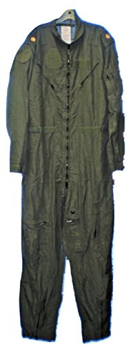 Original Military SAGE Green NOMEX FLYERS COVERALLS size 44 Long Flight Suit Pilot
