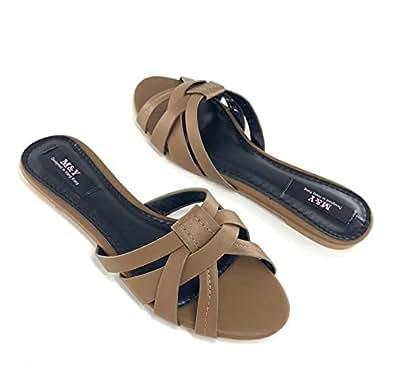 M&Y ladies flat slippers new (2019 summer)-Brown