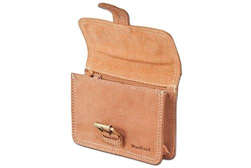 Woodland - Bolsillo Cinturón con hebilla de cuero de búfalo natural en Marrón oscuro / Taupe Beige