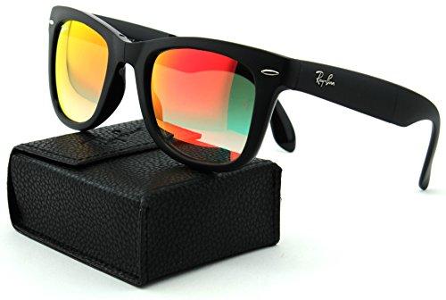 Ray-Ban RB4105 Folding Wayfarer Gradient Unisex Sunglasses (Matte Black Frame/Mirror Gradient Red Lens 60694W, - Ban Frame Ray Red Sunglasses