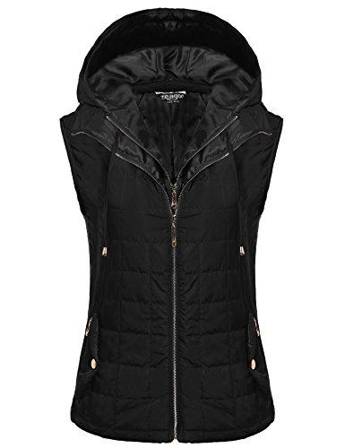 Black Womens Hooded Vest - 3