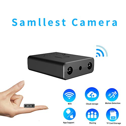 Smallest WiFi Spy Hidden Camera Mini Wireless Camera HD Indoor Home Smallest Spy Nanny Cam Security Cameras with Motion Detection/Night Vision/Cloud Storage for iPhone/Android Phone/iPad/PC