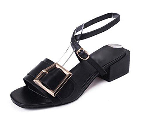Gruesa con sandalias de mujer con sandalias hebilla del cinturón de la hembra del verano con correas de tobillo Black