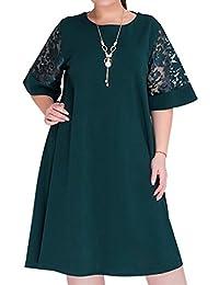 Pivaconis Vestido de Punto de Encaje para Mujer, Manga Corta, Talla Grande, para Oficina, Cóctel, Fiesta, etc.