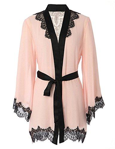- Vivilover Women's Sexy Mesh Kimono Lingerie Lace Nightgown Robe Set One Size