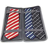 Travelbagclub Men Tie Case Organizer for Travel w/Storage Bag for Cufflinks and Small Accessories