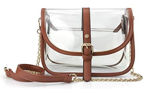 (Clear Saddle Cross Body Bag Women Chain Shoulder Handbag Purse with Faux Leather Trim (Brown))