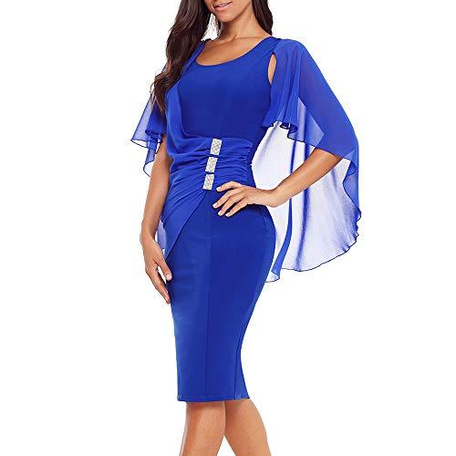 Rllyer Womens Plus Size Chiffon Ruffled Charming Trumpet Sleeves Slim Soft Round Neck Pencil Party Dress(XL,XXL,XXXL) ((US24-26) XXXL, Blue)