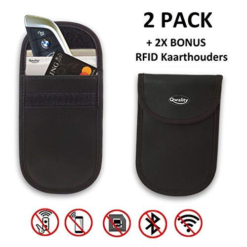 Anti-Diefstal Hoesje Autosleutel (2 PACK) + 2x RFID kaarthouders – Auto Sleutel Etui – Signaal Blokkerende Beschermhoes…