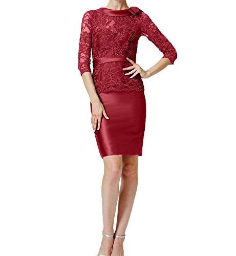 Spitze 4 Langarm Abendkleider 3 mit Damen Charmant Rot Brautmutterkleider Partykleider Knielang Etuikleider Promkleider AfEw6xv