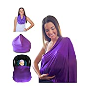 Mom & Bebe Nursing Cover / Scarf / Baby Car Seat Cover with Baby Bib, Purple, 70 x 170 cm