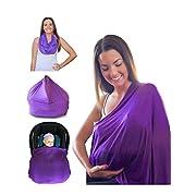 Mom & Bebe Nursing Cover / Scarf / Baby Car Seat Cover with Baby Bib, Purple, 70 x 170 cm