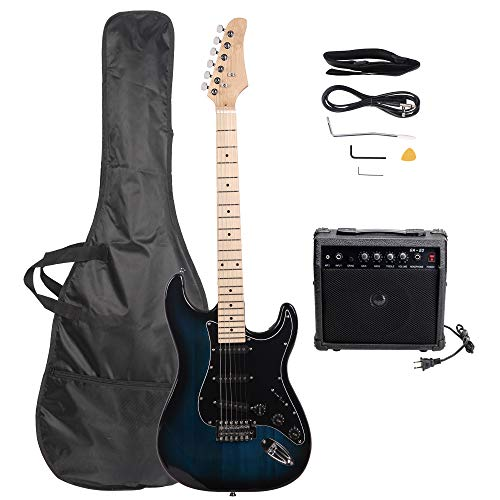 LAGRIMA 39″ Full Size Beginner Electric Guitar Starter Kit with Amplifier, Power Cord, Guitar Bag, Shoulder Strap and Plectrum (Dark Blue)