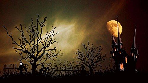 Laminated 42x24 inches Poster: Castle Ghost Castle Creepy Halloween Tombstone Mystical Weird Fence Night Moon Moonlight Mood Gespenstig Atmosphere Aesthetic Gloomy Dead Horror Scherenschnitt -