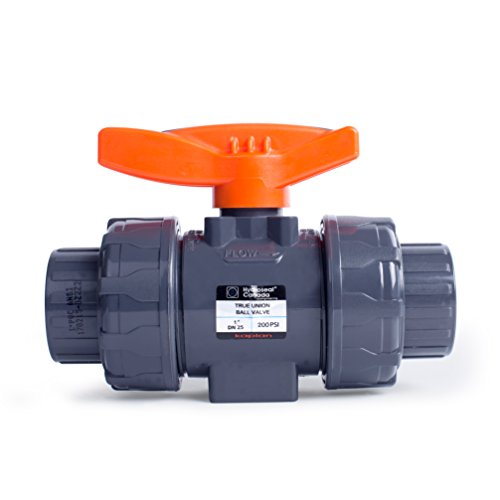 - HYDROSEAL Kaplan 1'' PVC True Union Ball Valve with Full Port, ASTM F1970, EPDM O-Rings and Reversible PTFE Seats, Rated at 200 PSI @73F, Gray, 1 inch Socket (1 inch)