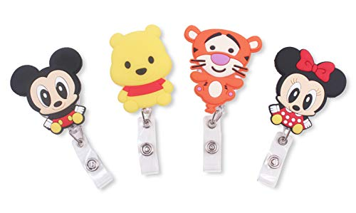 Finex Set of 4 Mickey Mouse Minnie Mouse Winnie The Pooh Tigger Retractable Badge Holder ID Badge Reel Clip On Card -