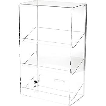 Plymor Brand Locking Acrylic Display Case W 3 Angled Shelves 2175 H X 1325 75 D