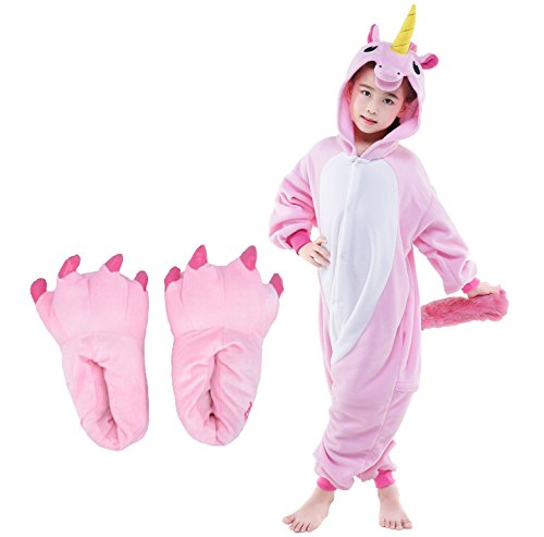 10-11 Year Old Halloween Costumes (Unicorn Kid's Halloween Costume Animal Pajamas+Monster Slipper Paw Shoes Outfit XL fits 55-59