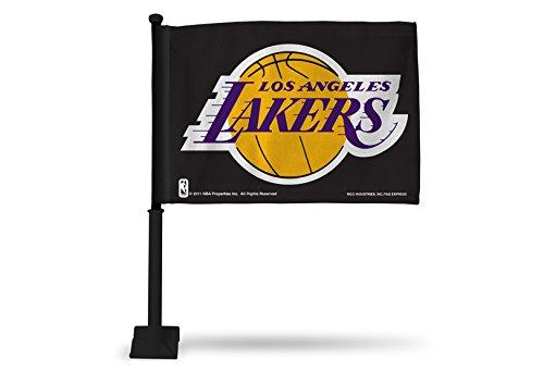 - NBA Los Angeles Lakers Car Flag, Black, with Black Pole