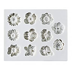 Flower Cake Fondant Mold,Roses Candy Making Silicone Tray,Chrysanthemum Cake Decoration Mold,Sunflower Chocolate Sugarcraft Small Pastry Tool 32
