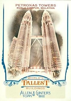 Petronas Towers trading card (Kuala Lumpur, Malaysia) 2012 Allen & Ginters Worlds Tallest Buildings ()