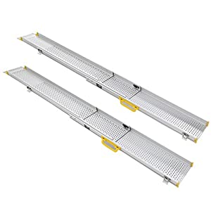 Ruedamann 10' Aluminum Adjustable Portable Telescoping Track Ramps Lightweight Retractable Wheelchair Ramp, Sold in Pairs, 6.5 Inch Inside Width 10 ft (MR107T-10)
