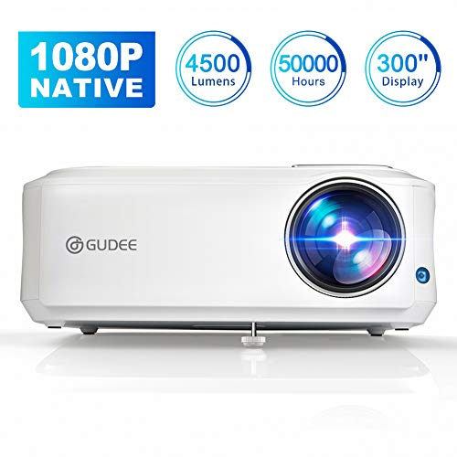 Native 1080P Projector, GuDee Full HD Video Projector for Business PowerPoint Presentation, 4500 Lux Movie Projectors for Home Theater, Compatible with Laptop iPhone Android HDMI USB Fire TV