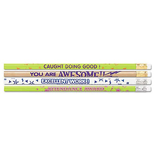 TableTop King 8207 Assorted Woodcase Barrel HB Lead #2 Assorted Motivational Messages Decorated Pencil - 144/Box (Decorated Wood Case Pencil)