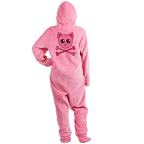 CafePress - Kawaii Kitty Crossbones - Novelty Footed Pajamas, Funny Adult One-Piece PJ Sleepwear -