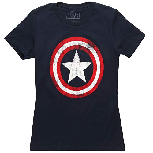 Marvel Women's Captain America Shield Logo Costume T-Shirt L Blue