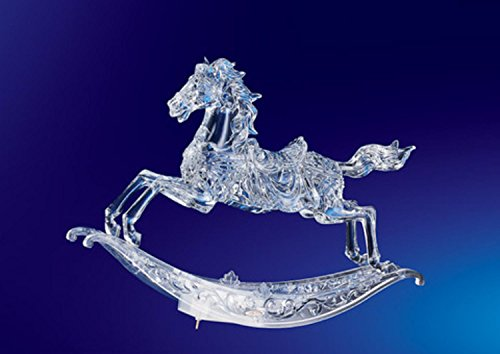 Crystal Rocking Horse Figurine - Pack of 2 ICY Crystal Musical Christmas Rocking Horses 10.5