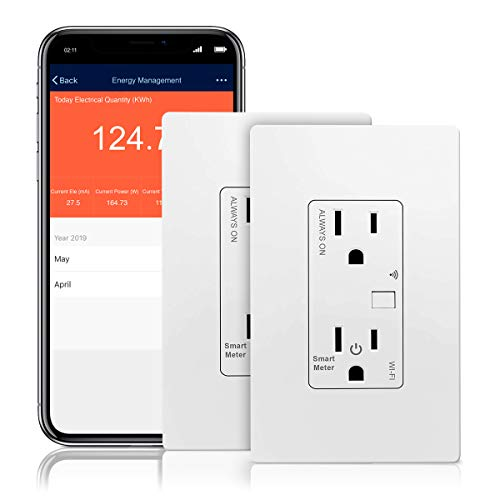 TOPGREENER Smart Wi-Fi Outlet with Energy Monitoring, Tamper-Resistant, Control Lighting and Appliances from Anywhere, in-Wall, No Hub Required, Works w Amazon Alexa and Google Assistant, 2 Pack