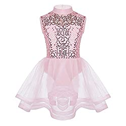 Pink, Ice Skating Leotard Dress