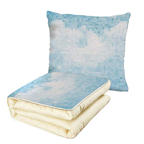 (iPrint Quilt Dual-Use Pillow Light Blue Blue Clouds and Sky Mosaic Abstraction Pixelated Clear Summer Day Grid Multifunctional Air-Conditioning Quilt Light Blue)