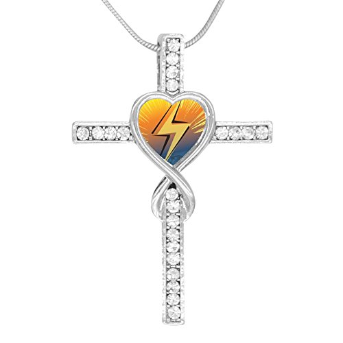 Price comparison product image Beufun Cross Infinity Love Pendant Necklace Lightning 3D Printed Jewelry for Women Girls