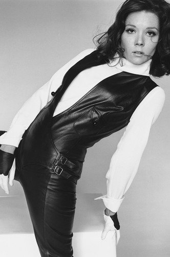 Diana Rigg Poster sexy in leather pant suit legs apart
