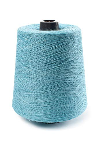 (Linen Yarn Cone - 100% Flax Linen - 1 LBS - Light Turquoise Color - 3 PLY - Sewing Weaving Crochet Embroidery - 3.000 Yard)