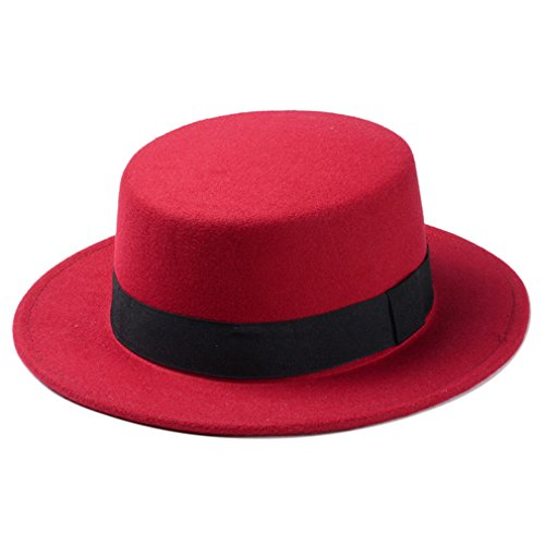 Elee Women Boater Hat Bowler Sailor Wide Brim Flat Top Caps Wool Blend (Red)]()