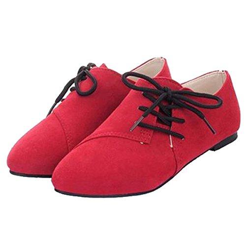 Geachte Tijd Koreaanse Versie Van Casual Comfort Lace Platte Schoenen Platte Schoenen Rood