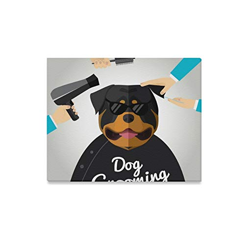 - Jnseff Wall Art Painting Rottweiler Getting Groomed Pet Grooming Salon Prints On Canvas The Picture Landscape Pictures Oil for Home Modern Decoration Print Decor for Living Room