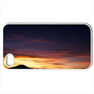 African sunset - Case Cover for iPhone 4 and 4s (Sunsets Series, Watercolor style, White)