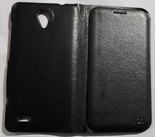 Coverage Flip Cover for Vivo y21l Faux Leather/Black