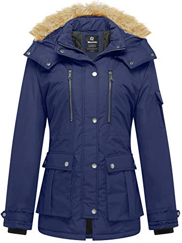 Wantdo Women's Thickened Parka Coat with Removable Fur Hood US Small Blue