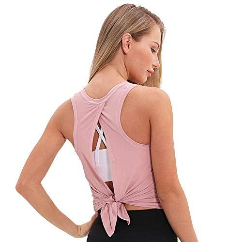 BeGrit - Camiseta sin mangas para mujer, espalda abierta, sin espalda, para yoga, gimnasio, fitness, correr, casual, suelto, color rosa claro, tamaño extra-large