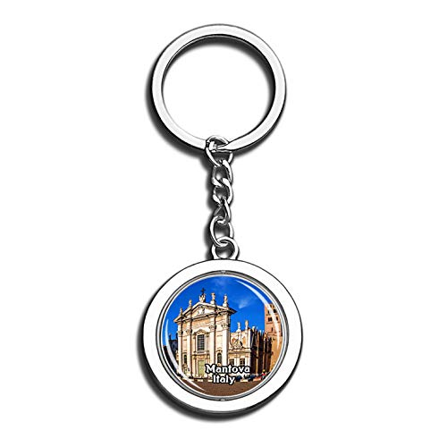 Mantova Mantua Cathedral Italy 3D Crystal Creative Keychain Spinning Round Stainless Steel Key Chain Ring Travel City Souvenir Collection ()