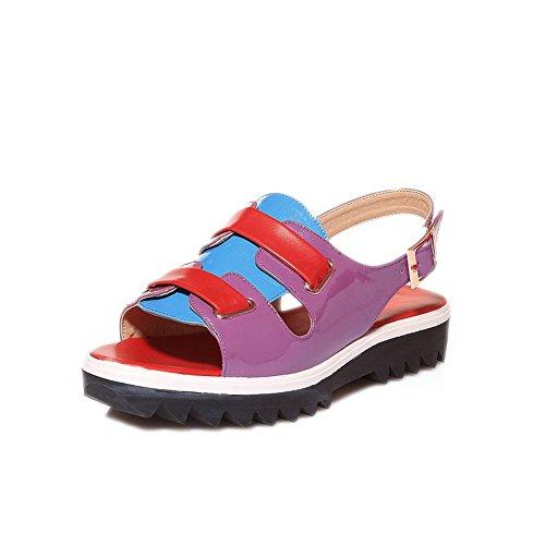 Allhqfashion Donna Materiale Morbido Fibbia Open Toe Sandali Bassi Assortiti Color Viola
