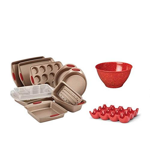 Rachael Ray 12 Piece Bakeware Set with Nonstick Baking Pans, Mixing Bowl, and Egg Tray in Red by Home Square